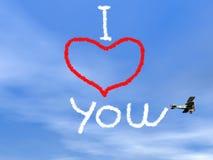 Сообщение влюбленности от biplan дыма - 3D представляют Стоковое Фото