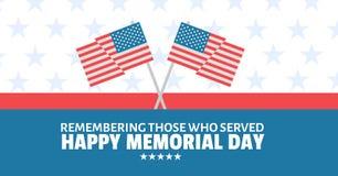 сообщение Дня памяти погибших в войнах с пересеченными американскими флагами и красной белой и голубой предпосылкой государственн Стоковое Изображение RF