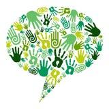 сообщение идет зеленые руки Стоковые Фото