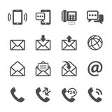 Сообщение комплекта значка телефона и электронной почты, вектора eps10 Стоковое Изображение