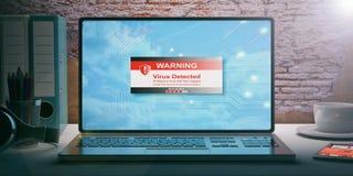 Сообщение обнаруженное вирусом на экране компьтер-книжки иллюстрация 3d Стоковое Изображение