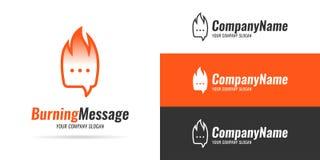 Сообщение логотипа горящее Стоковые Изображения