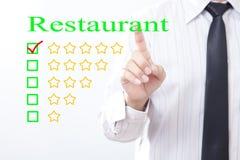 Сообщение ресторана концепции щелчка бизнесмена, 5 золотых звезд Стоковое Фото