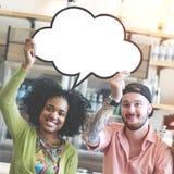 Сообщение связи пузырей речи соединяет концепцию Стоковое Изображение RF