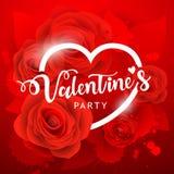 Сообщение счастливой партии дня ` s валентинки белые и предпосылка красной розы иллюстрация штока