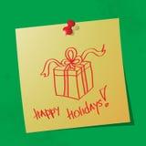 Сообщение счастливых праздников рукописное стоковое изображение rf