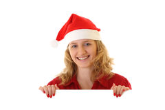 сообщение santa удерживания девушки Стоковые Фото