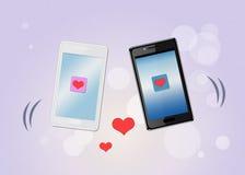 Сообщения влюбленности на вашем smartphone иллюстрация штока