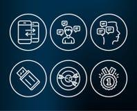 Сообщения, связь телефона и значки нацеливания Usb проблескивает, сообщения переговора и одобренные знаки иллюстрация вектора