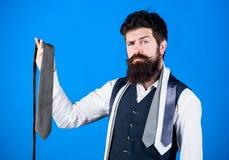 Соответствовать его стилю одежды Бизнесмен в классическом стиле Бородатый человек выбирая правый галстук на деловая жизнь стоковые изображения rf