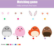 Соответствуя игра детей воспитательная Животные помощи найти уши Ягнит деятельность иллюстрация вектора