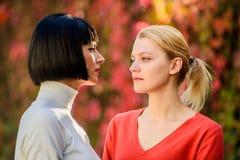 Соперничество и ревность проблем приятельства Милые сестры подруг Визуальный контакт Женщины смотря один другого с стоковые изображения rf