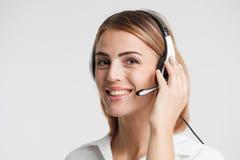 Сопровоженный портрет работника центра телефонного обслуживания Operat телемаркетинга Стоковые Изображения