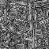 соплеменное картины безшовное Геометрическая нарисованная рука орнамента Почерните Стоковые Фото
