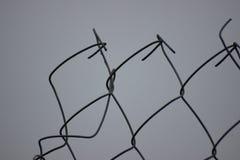 Сорванная колючая проволока вставляя вне Поврежденная загородка Monohrom стоковые фото