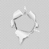 Сорванное бумажное реалистическое, отверстие в листе бумаги на прозрачной предпосылке Стоковая Фотография RF