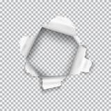 Сорванное бумажное реалистическое, отверстие в листе бумаги на прозрачной предпосылке бесплатная иллюстрация
