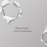 Сорванное бумажное реалистическое, отверстия в листе бумаги на прозрачной предпосылке Стоковые Фото