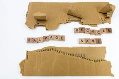 Сорванное спасение имущества картона рециркулирует спасение Стоковые Фото