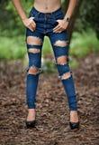 Сорванные джинсы стоковые фото