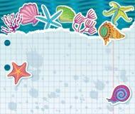 Сорванный лист с щипцами, водорослями и звездами моря Стоковая Фотография RF