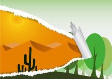 Сорвите бумажную концепцию, woodcutting для того чтобы быть пустыней Стоковое Изображение RF