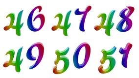 Сорок шесть, сорок семь, сорок восемь, сорок девять, 50, 50 одних, 46, 47, 48, 49, 50, 51 каллиграфическое 3D представило числа,  Стоковые Фото