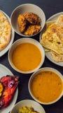 Сортированная индийская еда на темной деревянной предпосылке Блюда и закуски индийской кухни Карри, цыпленок масла, рис стоковые изображения rf