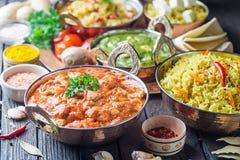 Сортированная индийская еда стоковые фотографии rf