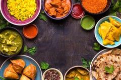 Сортированная индийская еда Стоковое Изображение