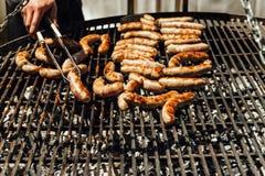 Сортированное мясо и овощи жаря над огнем Стоковые Изображения RF