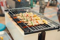 Сортированное мясо от цыпленка и свинины и различных овощей на сваренном гриле барбекю Стоковая Фотография RF