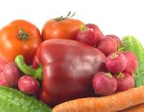 Овощи изолированные над белым крупным планом Стоковое Фото