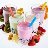 Сортированные вкусы milky чая пузыря или boba стоковое изображение
