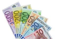 Сортированные деноминации счетов евро Стоковые Изображения