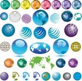 сортированные иконы глобуса Стоковое фото RF