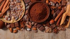 Сортированные какао, гайка, и сахар Стоковая Фотография RF