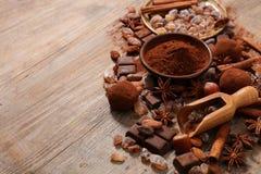 Сортированные какао, гайка, и сахар Стоковое фото RF