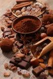 Сортированные какао, гайка, и сахар Стоковое Изображение RF