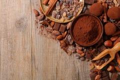 Сортированные какао, гайка, и сахар Стоковое Изображение