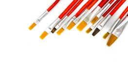 Сортированные кисти художников изолированные на белой предпосылке Стоковое Изображение RF
