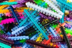 Сортированные кольца orthodontics эластомерные Стоковые Изображения RF