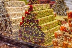 Сортированные красочные турецкие наслаждения Стоковое фото RF