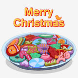 Сортированные печенье и печенья для с Рождеством Христовым иллюстрация штока