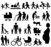 сортированные силуэты семьи Стоковое Изображение RF