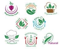 Сортированные символы еды ресторана и вегетарианца или иллюстрация штока