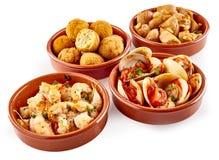 Сортированные традиционные испанские закуски тап Стоковые Изображения RF