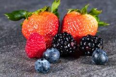 Сортированные ягоды на сером камне Стоковые Фотографии RF