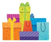 сортированный подарок коробок Стоковое Фото