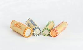 Сортированный Rolls обернутых монеток Стоковая Фотография RF